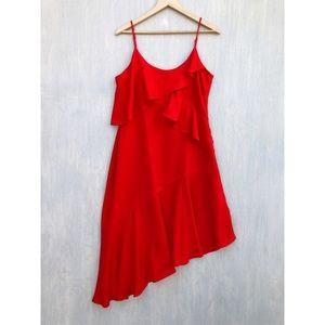 NWT Adelyn Rae asymmetric ruffle red cami dress M